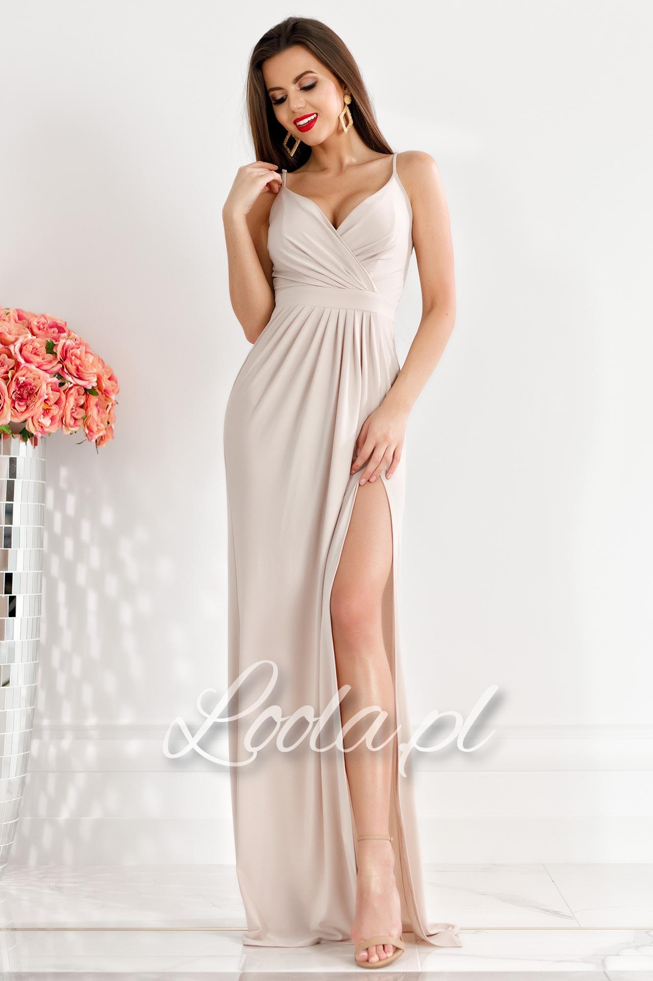 PAM beżowa Długa, dopasowana sukienka na ramiączkach