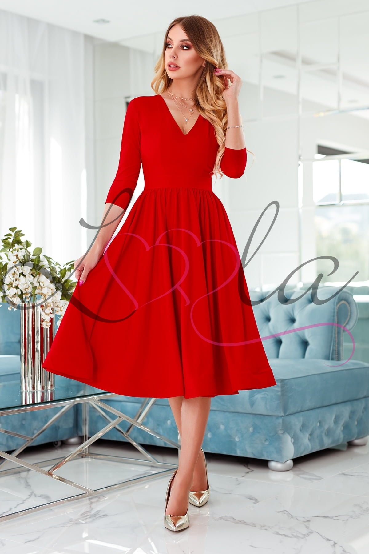 CALMA czerwona Sukienka midi rozkloszowana z rękawem 34