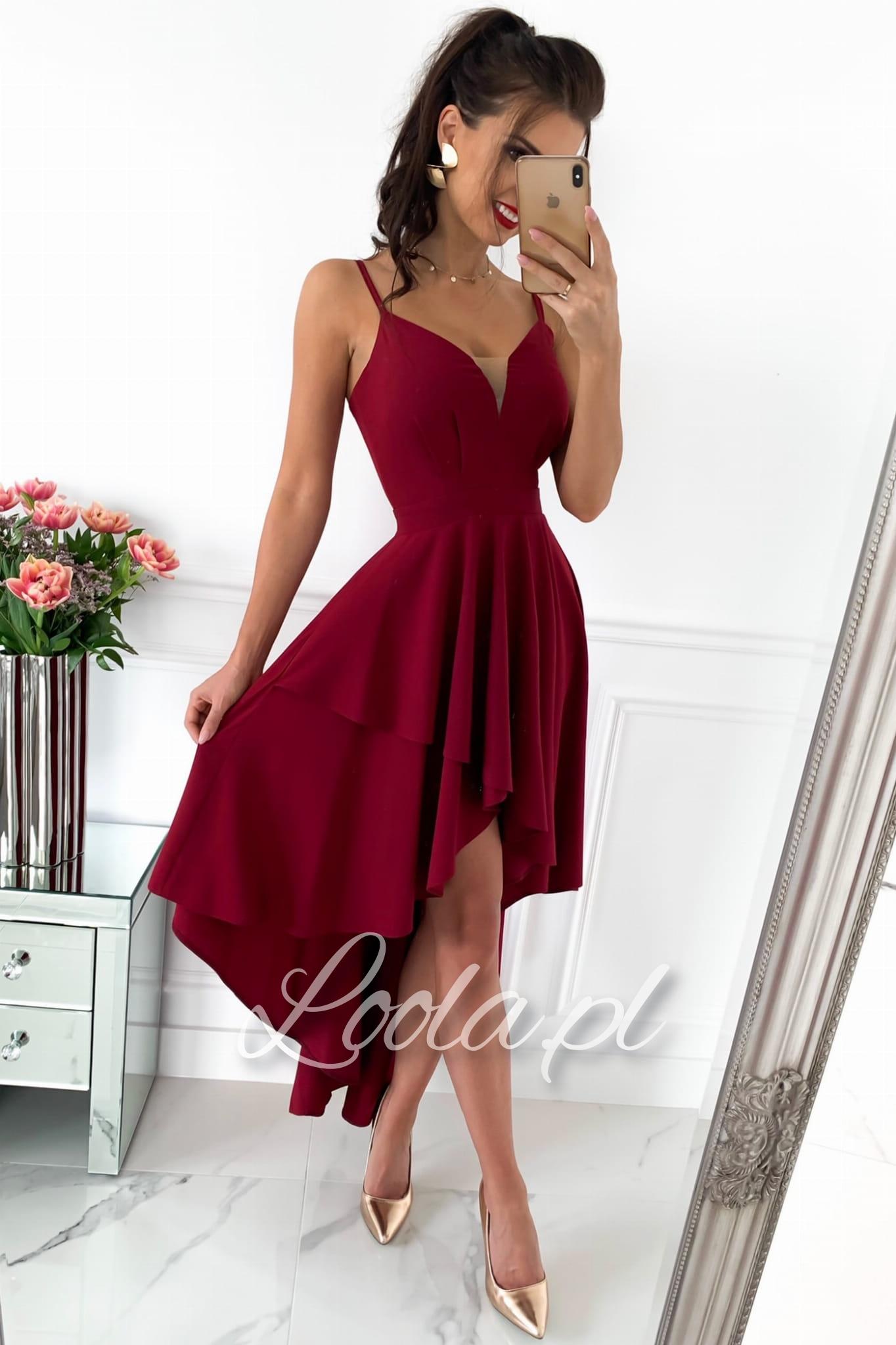 HEART bordowa Zwiewna, asymetryczna sukienka na