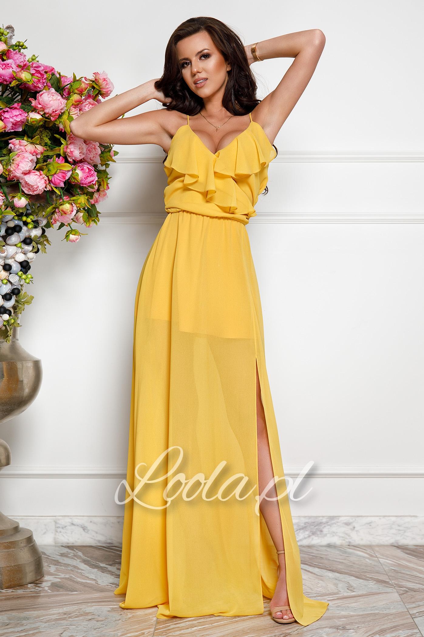 c934848abf774a Sol, żółta sukienka na wesele, na lato - Loola