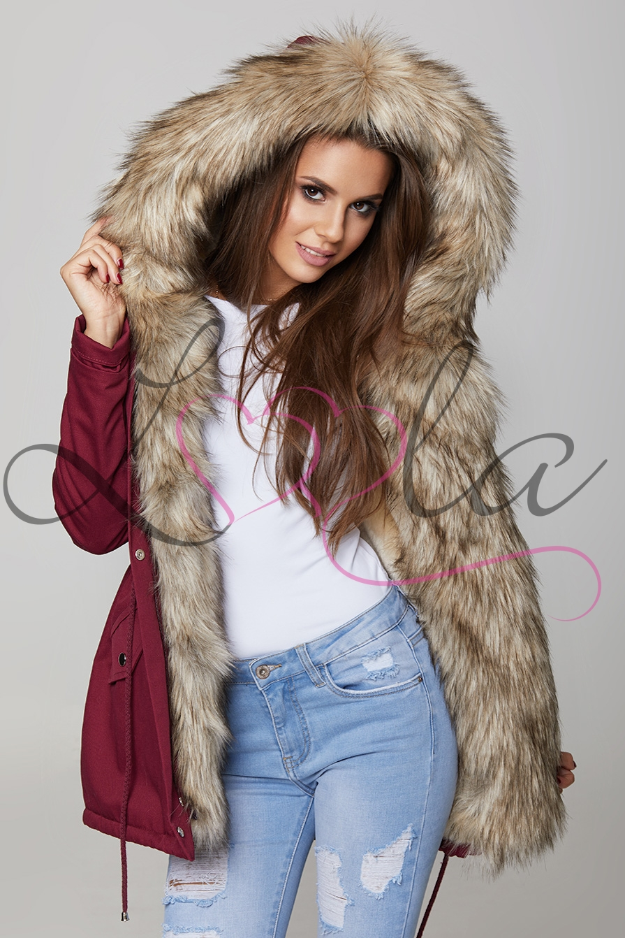 hottest sale best quality for classic Burgundy Faux Fur Hooded Parka Jacket