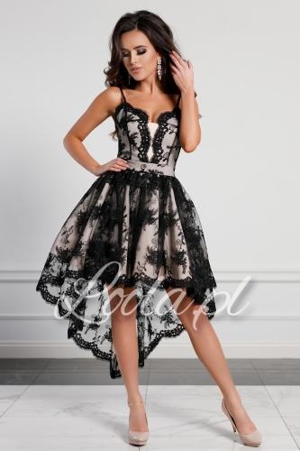 Sukienki Brokatowe Tiulowe Z Dekoldem Na Plecach Kolory